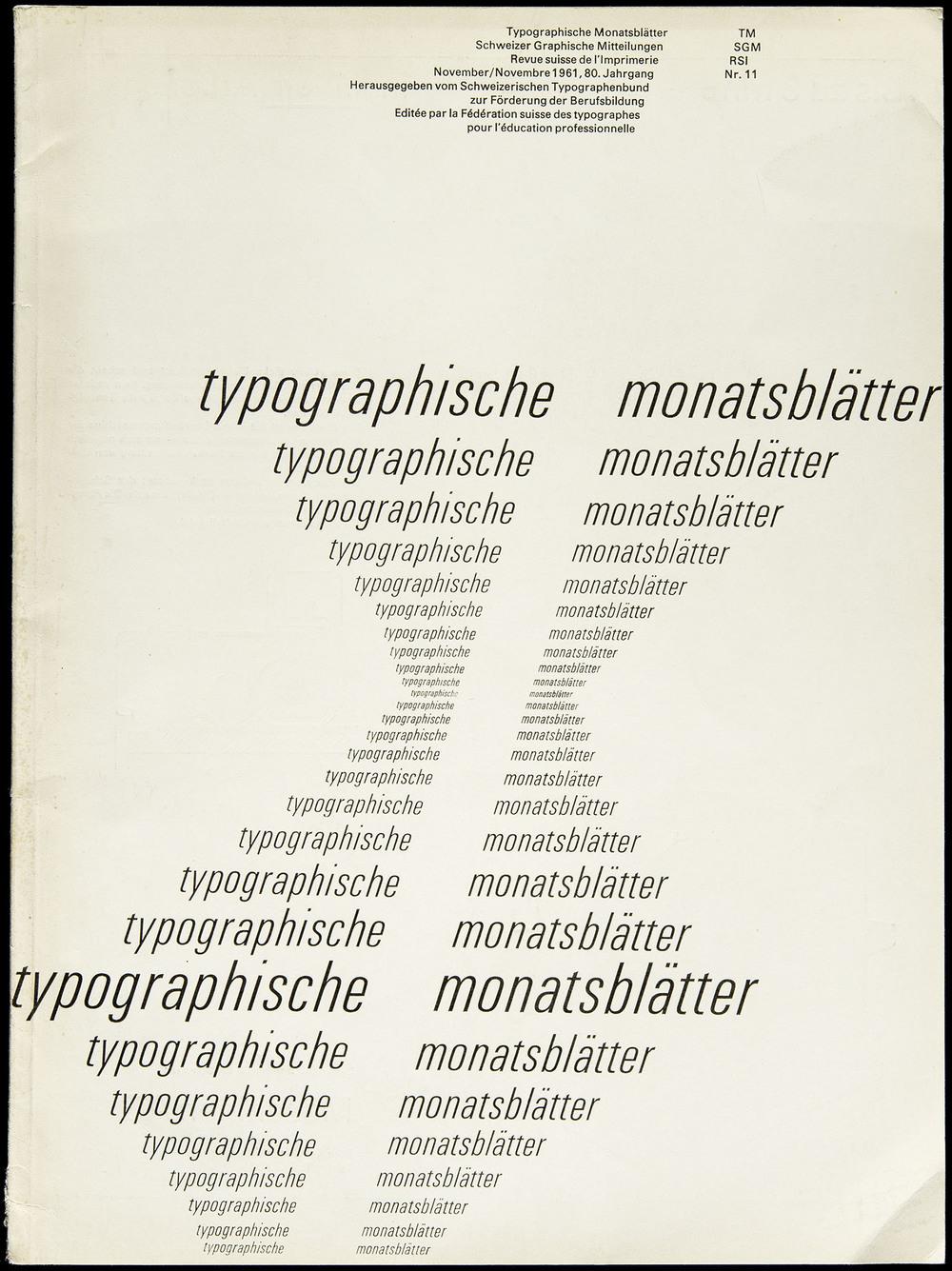 Emil Ruder,  Typographische Monatsblätter November 1961 , Zollikofer & Co., St. Gallen, 23 x 31 cm