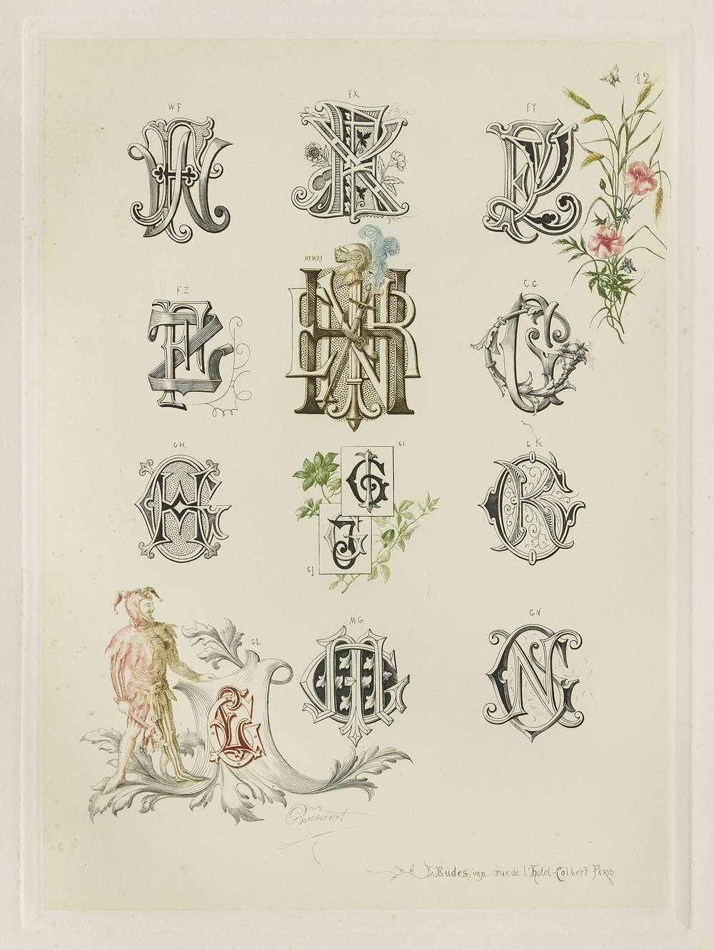 Detail of plate, Gustave Boussenot,  Chiffres & Monogrammes et Suite de Compositions Decoratives de Styles et de Fantaisies , Paris, circa 1880, 22 x 30 cm