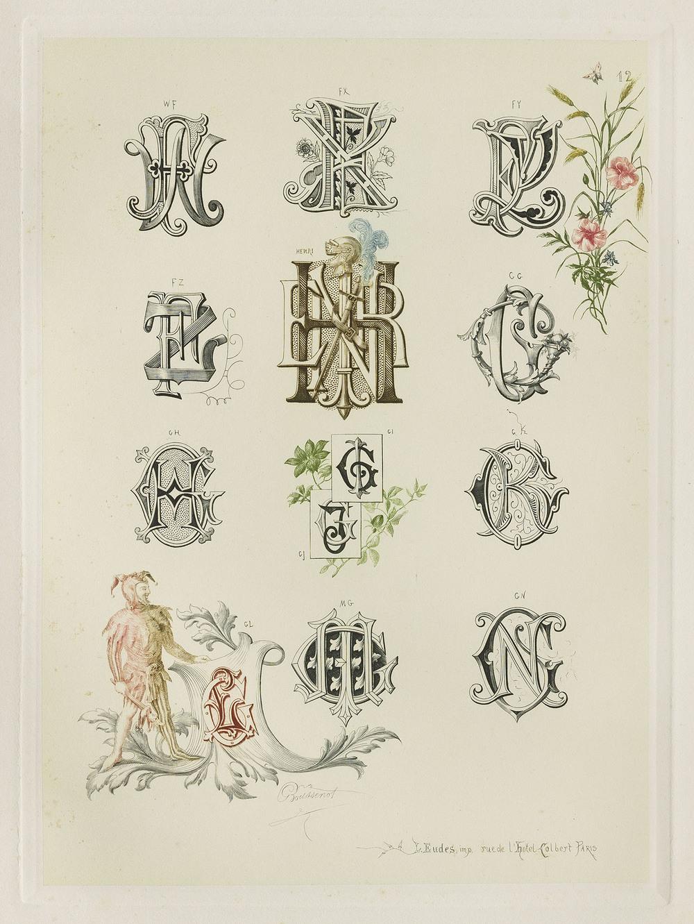 Detail of plate, Gustave Boussenot, Chiffres & Monogrammes et Suite de Compositions Decoratives de Styles et de Fantaisies , Paris, circa 1880, 22 x 30 cm