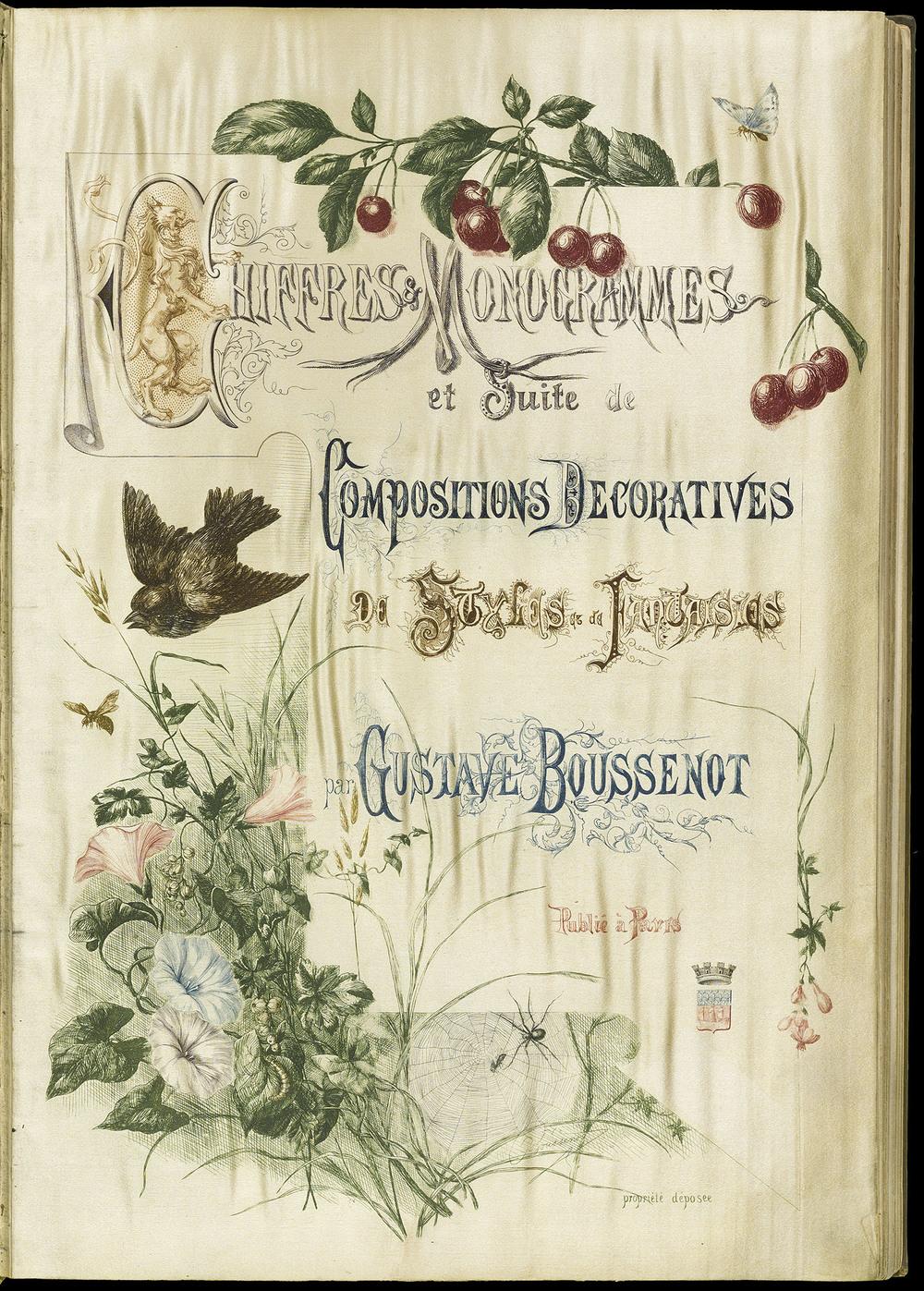 Gustave Boussenot,  Chiffres & Monogrammes et Suite de Compositions Decoratives de Styles et de Fantaisies , Paris, circa 1880, 31 x 44.5 cm