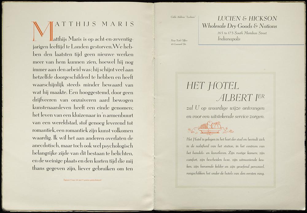 Sjoerd Hendrik de Roos, first specimen of  Egmont , Lettergieterij Amsterdam, 1933, 44 x 30 cm