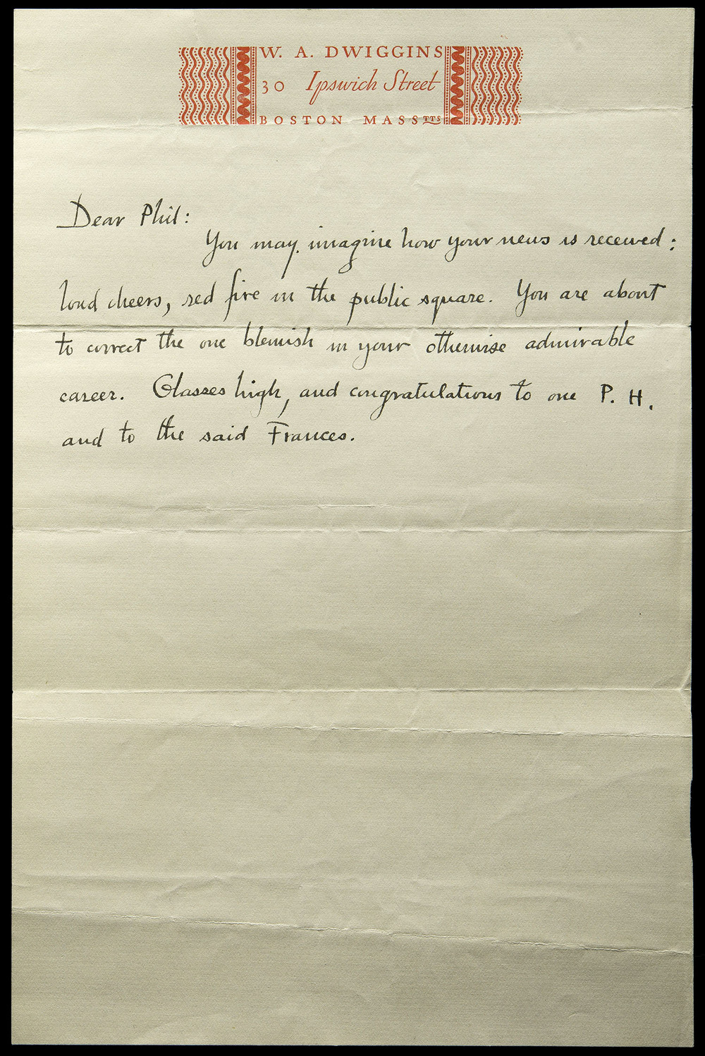 Letter to Philip Hofer on the occasion of his engagement, 1930, 15.7 x 24 cm