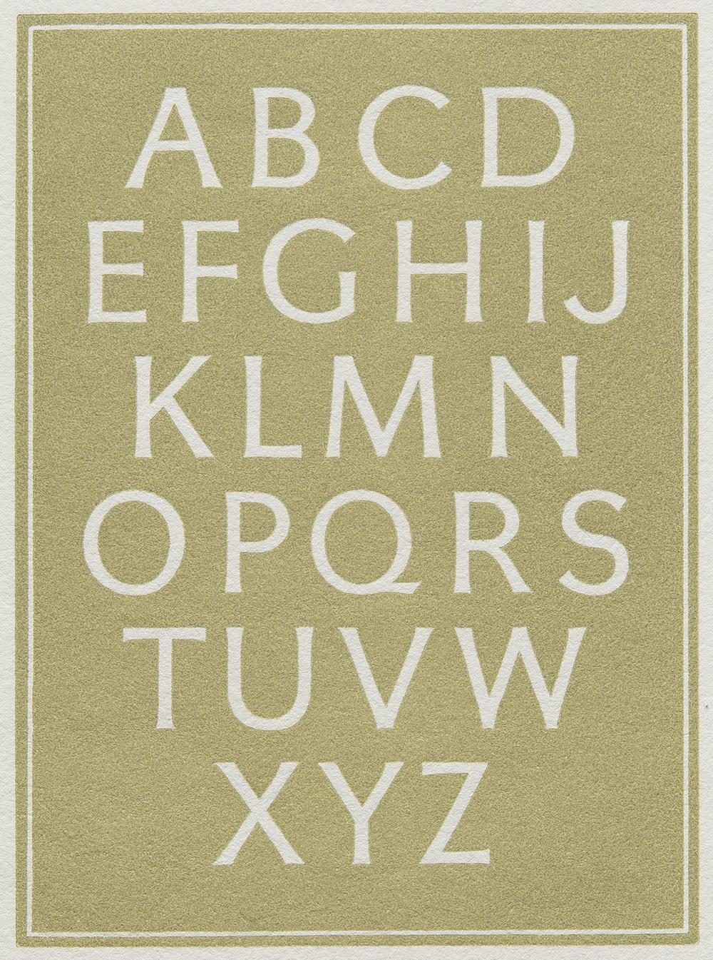 Leo Wyatt, detail of wood engraved plate in  Little Book of Alphabet s, The Florin Press, Biddenden Kent, 1985, 8 x 11 cm