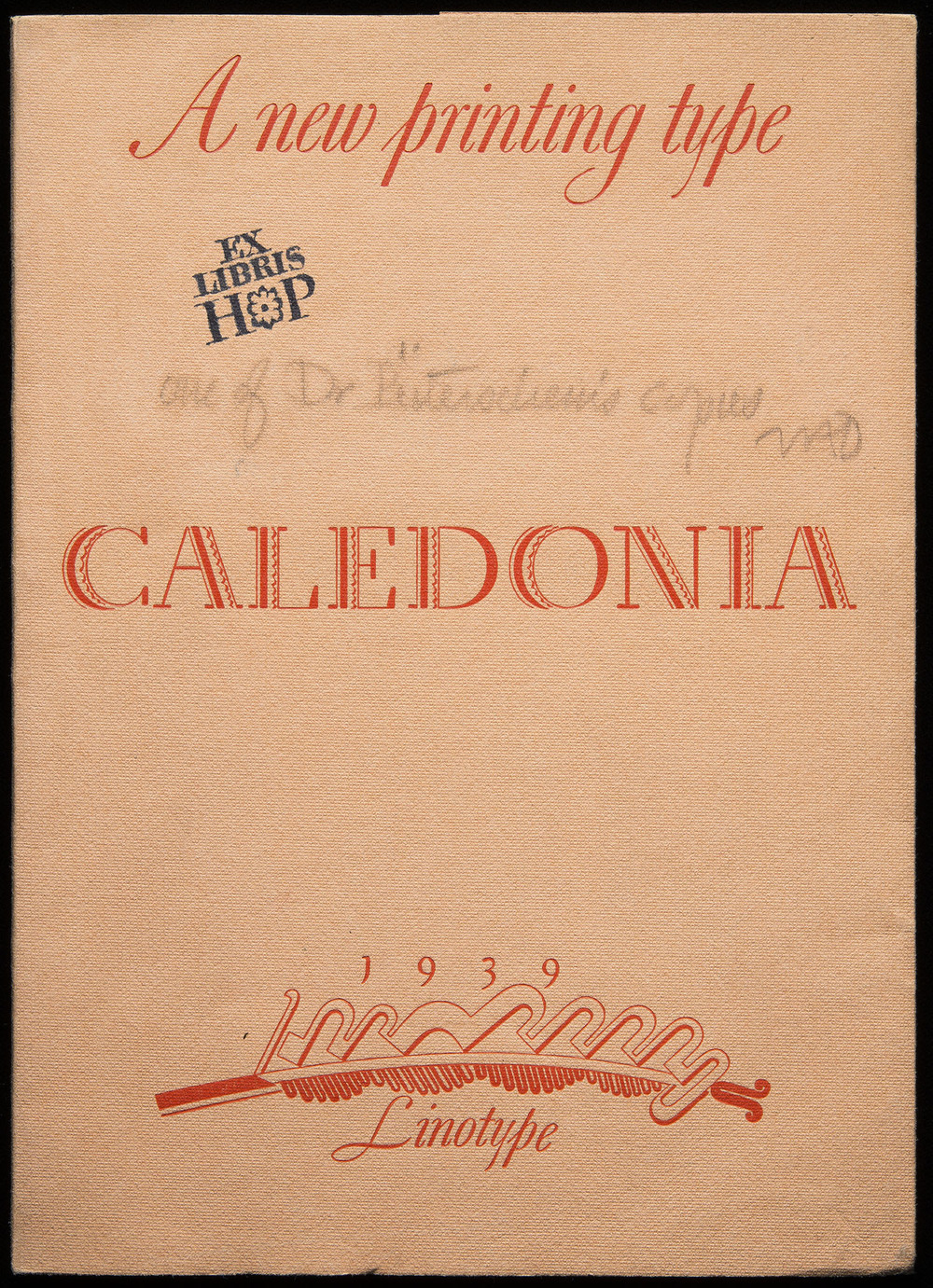 First specimen of  Caledonia , Mergenthaler Linotype, Brooklyn, 1939, 14 x 20 cm