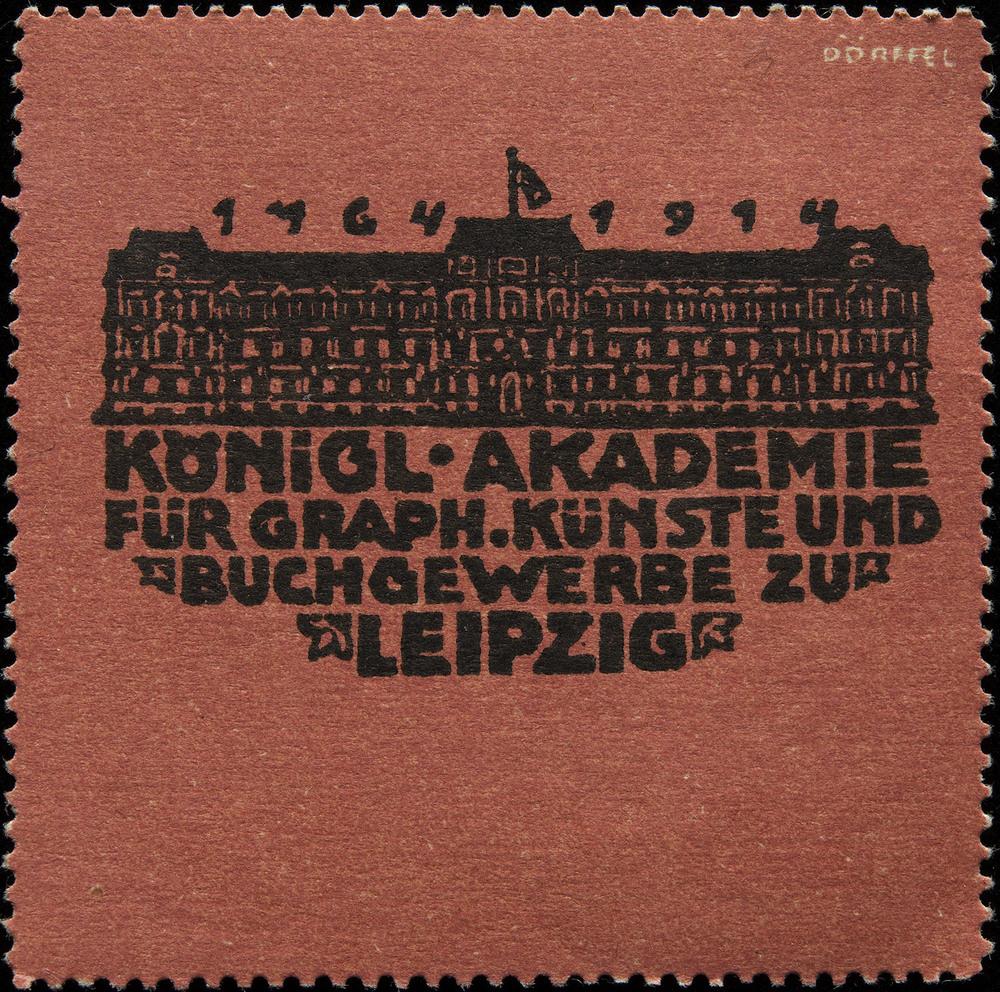 Dörffel, poster stamp for Königl Akademie, Leipzig, 1914, 5.5 x 5.5 cm