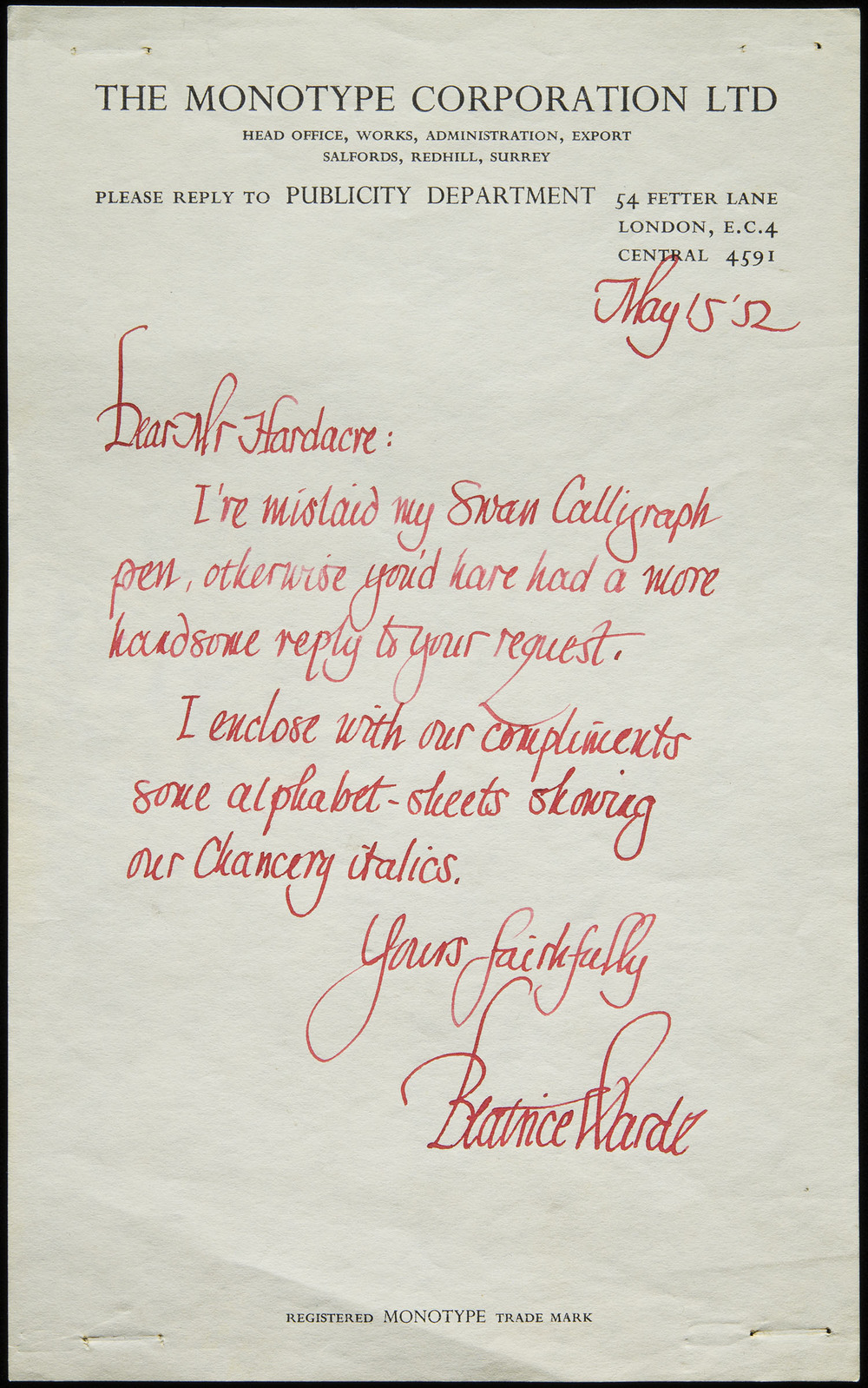 Beatrice Warde, autograph letter to Kenneth Hardacre, 1952, 12.6 x 20.4 cm