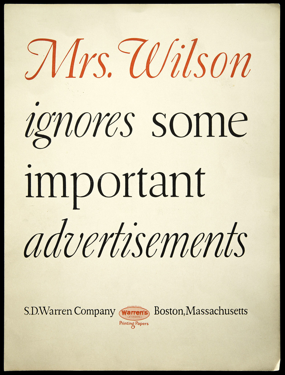 A full page advertisement for Warren's Paper, circa 1928, 21 x 28 cm