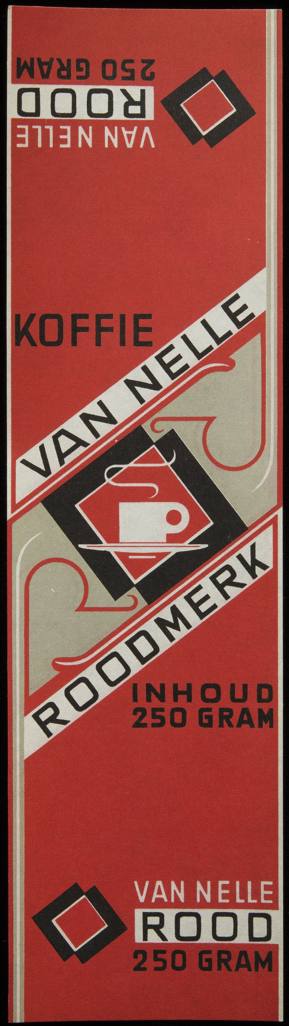 Jac Jongert, coffee label for Van Nelle, 1930s, 7 x 25.5 cm