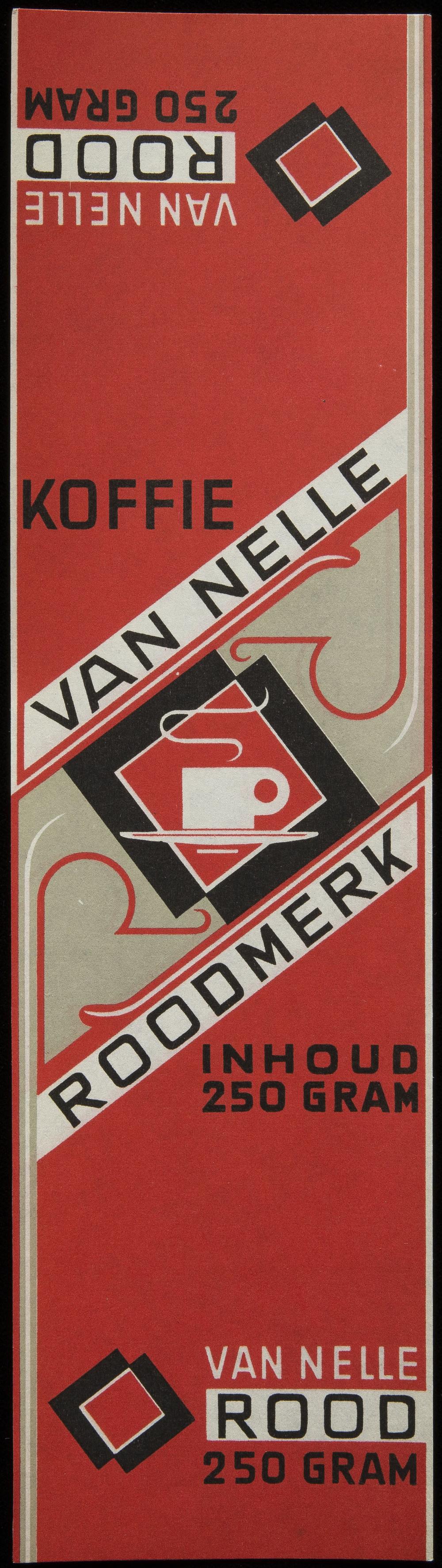 Jac Jongert, coffee label for Van Nelle, 1930s, 7 x 25.5 cm