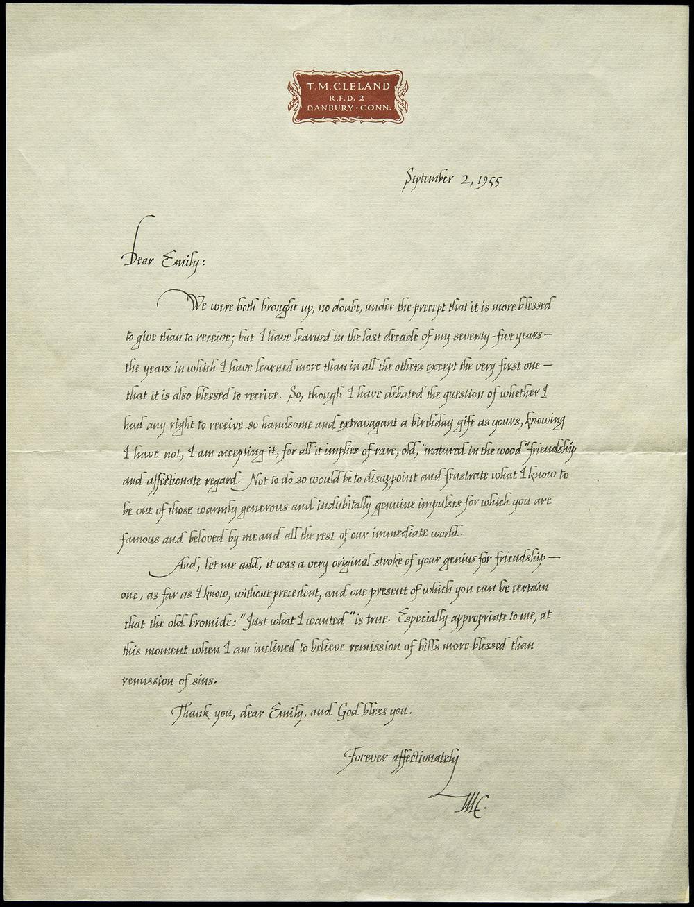 Thomas Maitland Cleland, autograph letter, Danbury CT, 1955, 21.2 x 27.8 cm