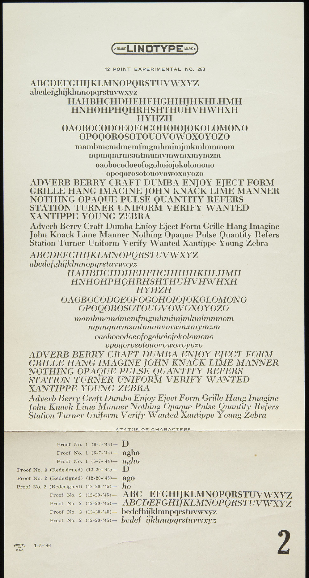 Trial proof sheet of  Tippecanoe , Mergenthaler Linotype, Brooklyn, 1946, 15.2 x 28 cm