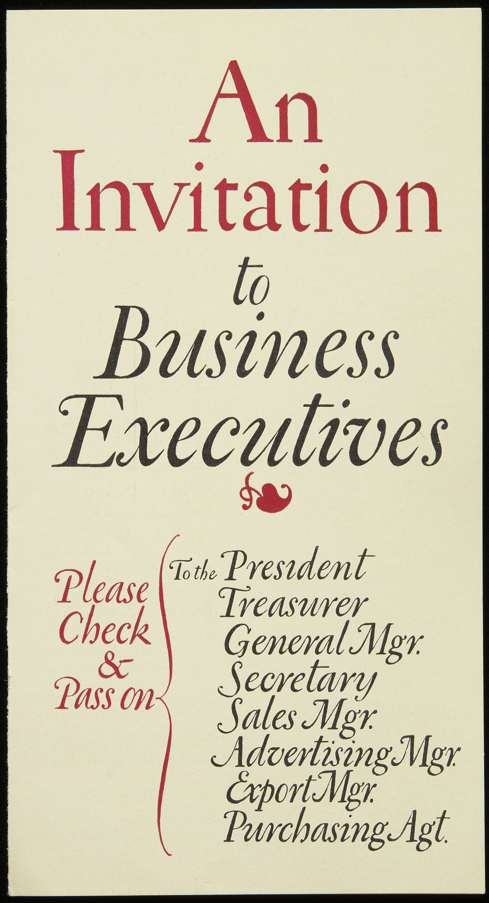 Brochure for Direct Mail Convention, circa 1920, 8.7 x 16.2 cm