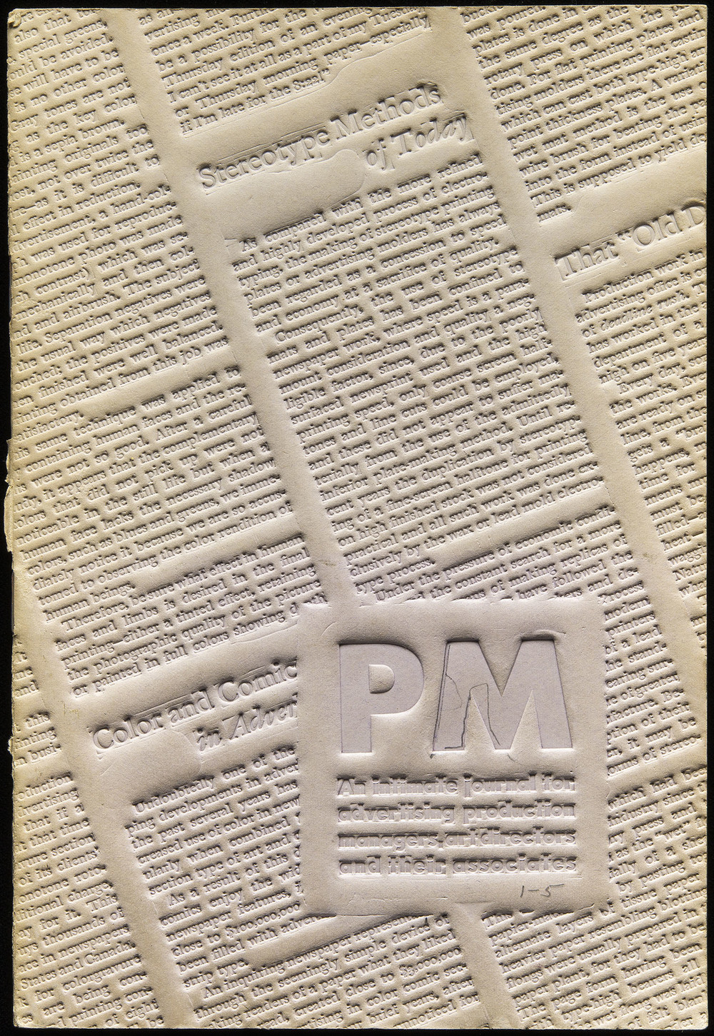 A flong, or stereotype matrix, used as the cover of PM magazine, New York, 1935, 13.6 x 20 cm