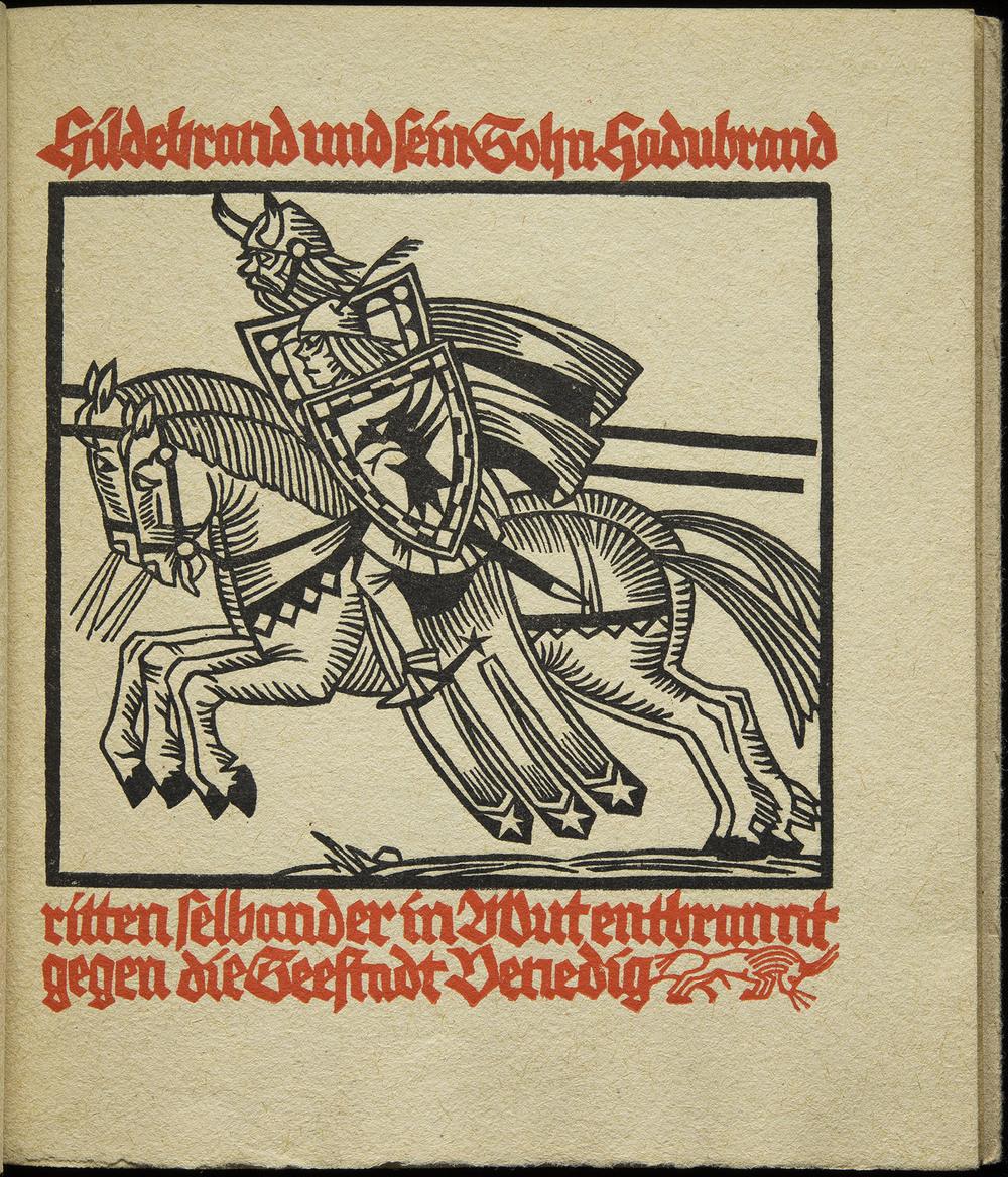 Rudolph Koch,  Das Hildebrandlied , Wilhelm Gerstung, Offenbach, 1926, 16.5 x 19.3 cm