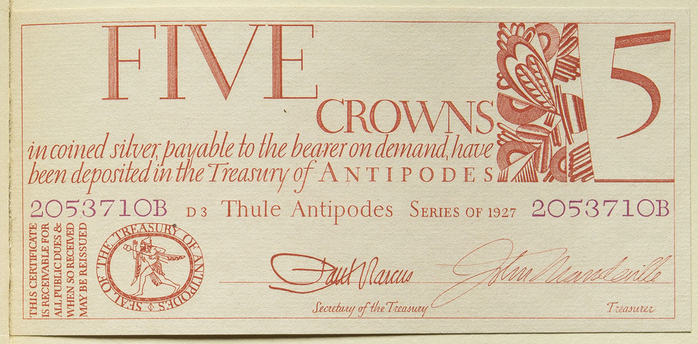 Engraved bank note bound into  Towards a Reform of the Paper Currency , Limited Editions Club, New York, 1932, 16 x 8 cm