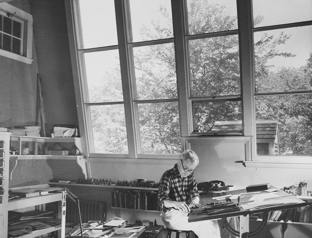At work in his studio, anonymous silver gelatin photograph,circa 1950, 16.5 x 12.7 cm