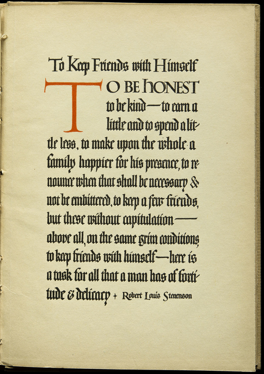 The Meaning of Friendship  by Robert Louis Stevenson, Canterbury, Chicago, 1909, 25.4 x 17.8 cm
