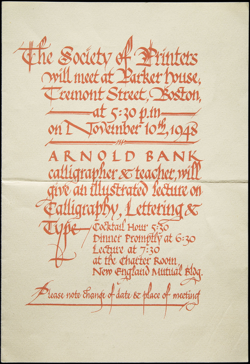 Arnold Bank, Invitation to a lecture, The Society of Printers, Boston, 1948, 15.9 x 23.2 cm