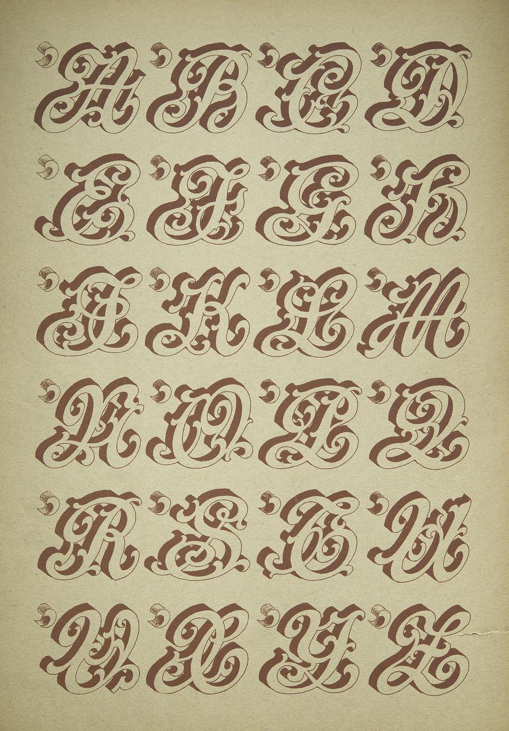 Anonymous French Sign Painter's Alphabet, Paris, nd, 27 x 40 cm