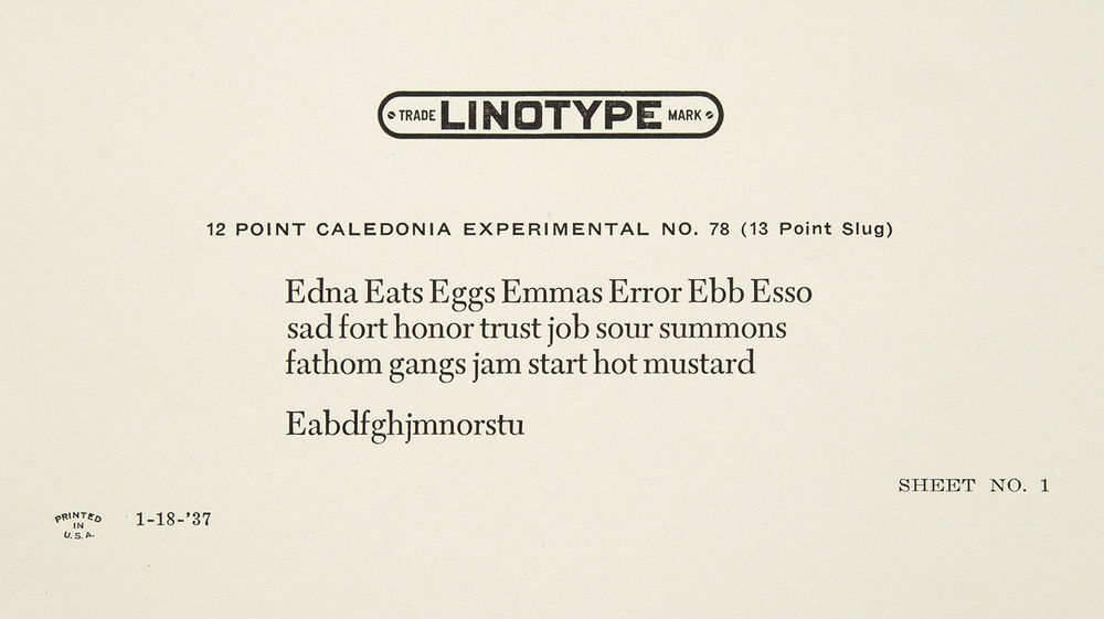 Detail of an early trial proof of Caledonia, Mergenthaler Linotype, Brooklyn, 1937, 11 x 6.2 cm
