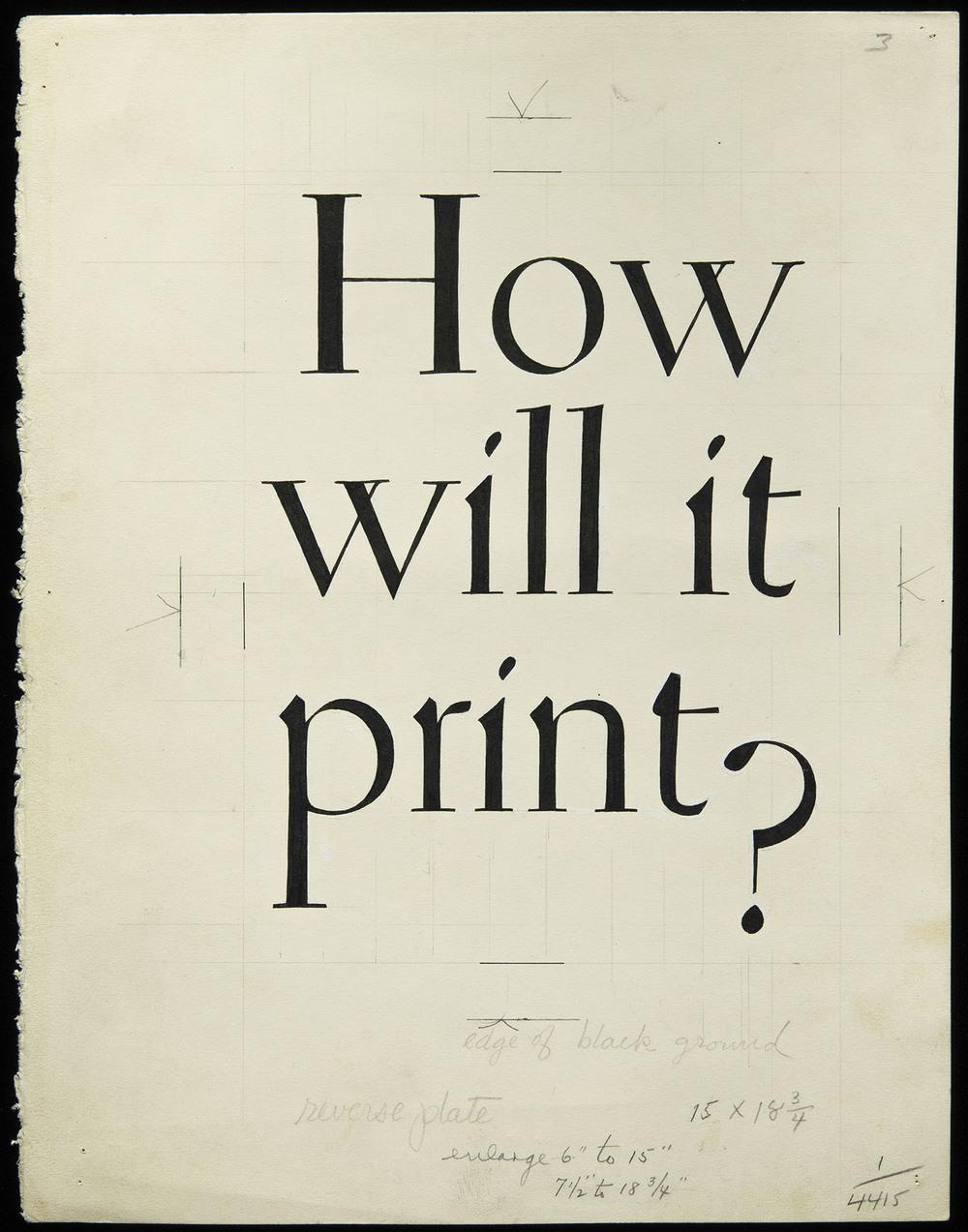 JUNE  William Addison Dwiggins, original lettering for brochure cover, Warren's Paper, circa 1930, 20 x 25.7 cm