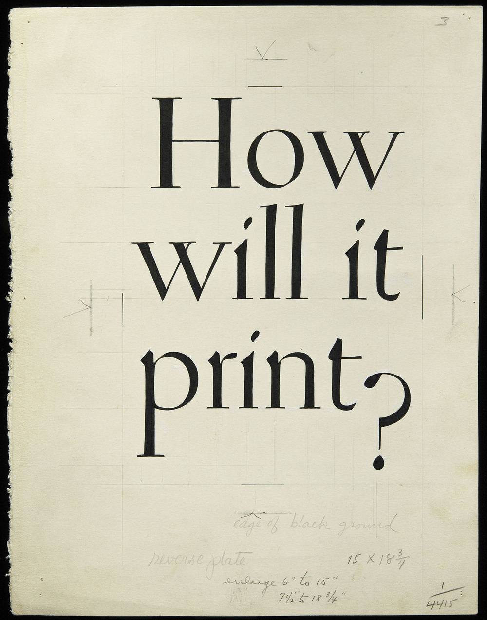 Original lettering for brochure cover, Warren's Paper, circa 1930, 20 x 25.7 cm