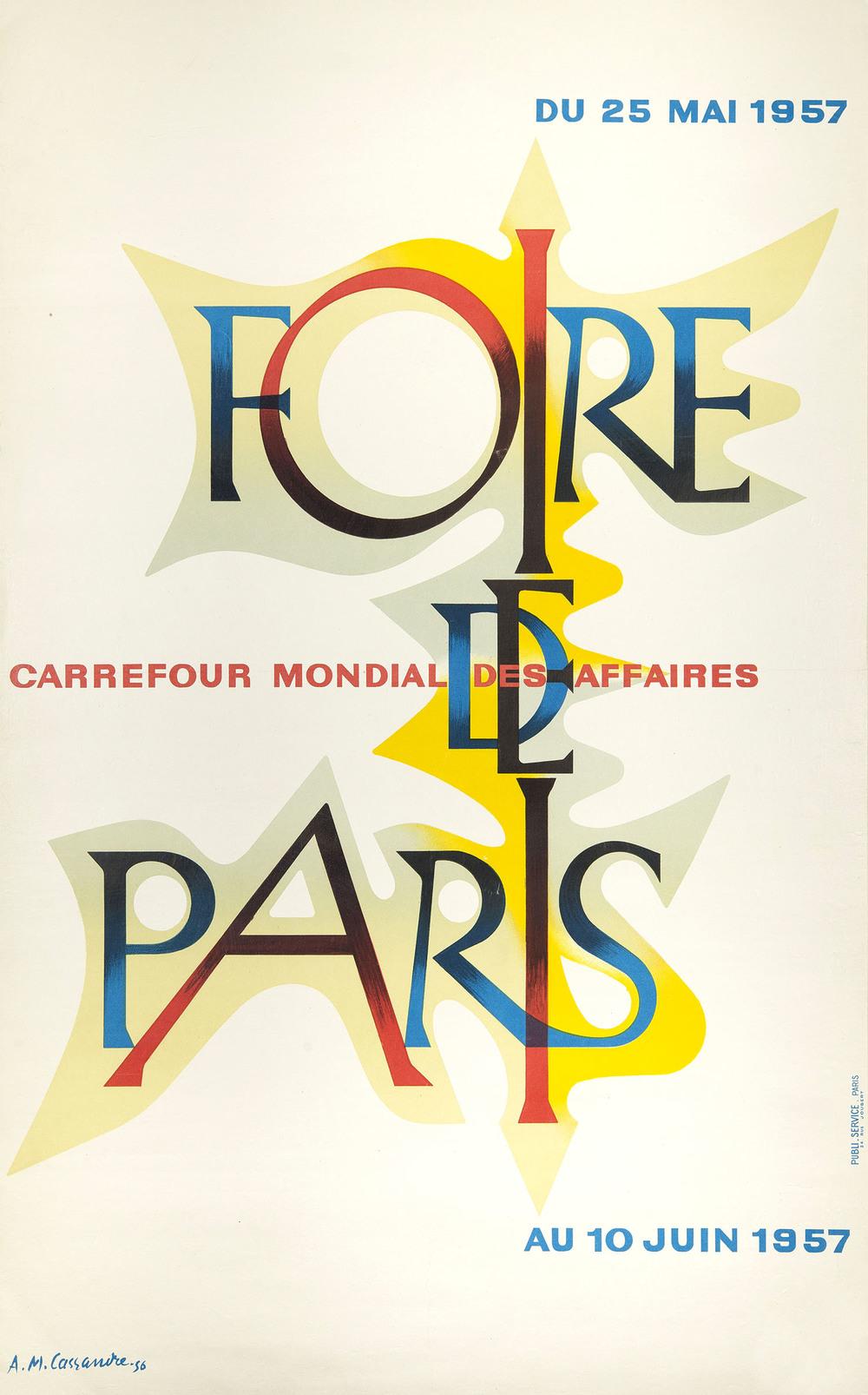 JANUARY    A M Cassandre, poster for Foire de Paris, 1956