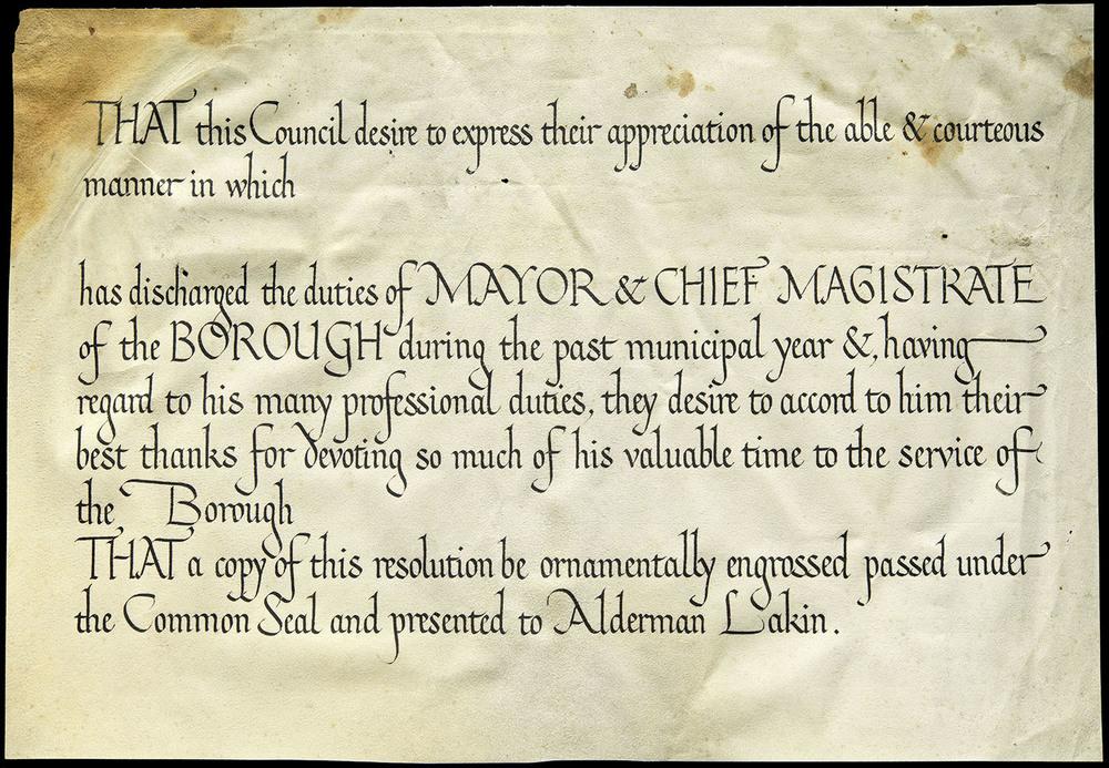 FEBRUARY  Edward Johnston, draft certificate on vellum, Ditchling, circa 1920, 30 x 20.8 cm