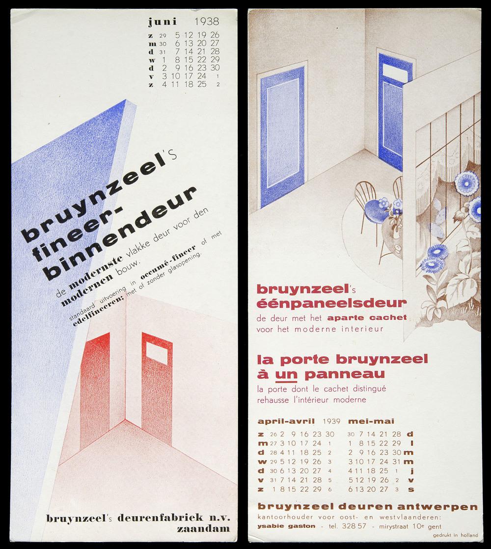 MAY  Piet Zwart, Calendar blotters, Bruynzeel, Zaandam   & Antwerp, 1938 & 1939, each 9.7 x 22 cm