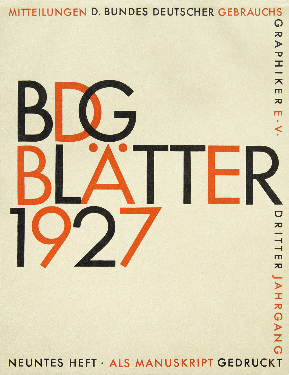 AUGUST  Paul Renner, example magazine cover included in the first specimen of  Futura , Bauersche Giesserei, Frankfurt, 1927, 15.2 x 19.7 cm
