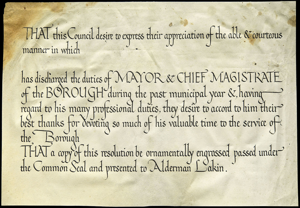 Edward Johnston, draft certificate on vellum, Ditchling, circa 1920, 30 x 20.8 cm
