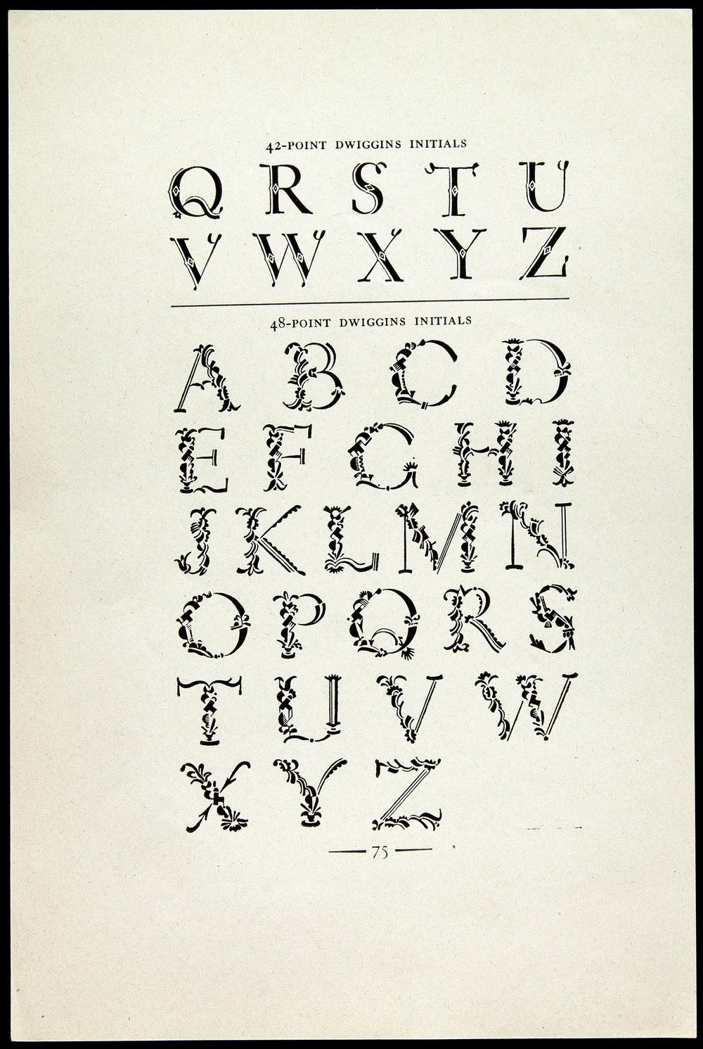 A proof sheet of  Plimpton Initials , Plimpton Press, Norwood MA, circa 1936, 15 x 22.8 cm