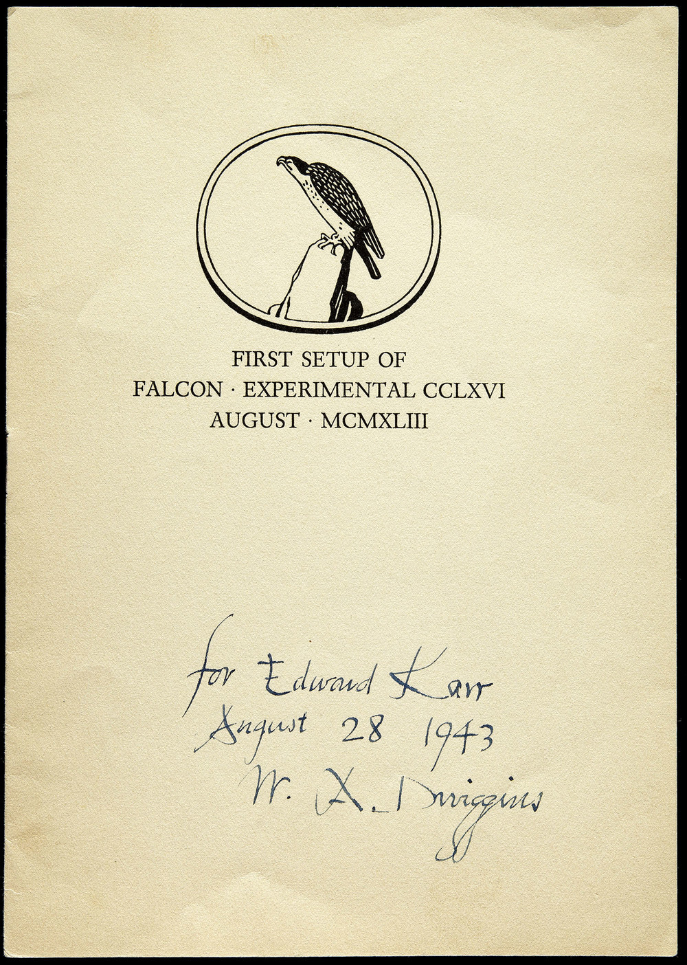 First setup booklet of  Falcon  experimental, Mergenthaler Linotype, Brooklyn, 1943, 14 x 19.5 cm
