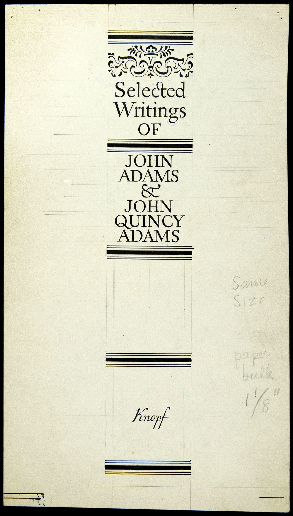 Original art for shelf back,  Selected Writings of John Adams , Knopf, New York, 1946, 13.5 x 24 cm