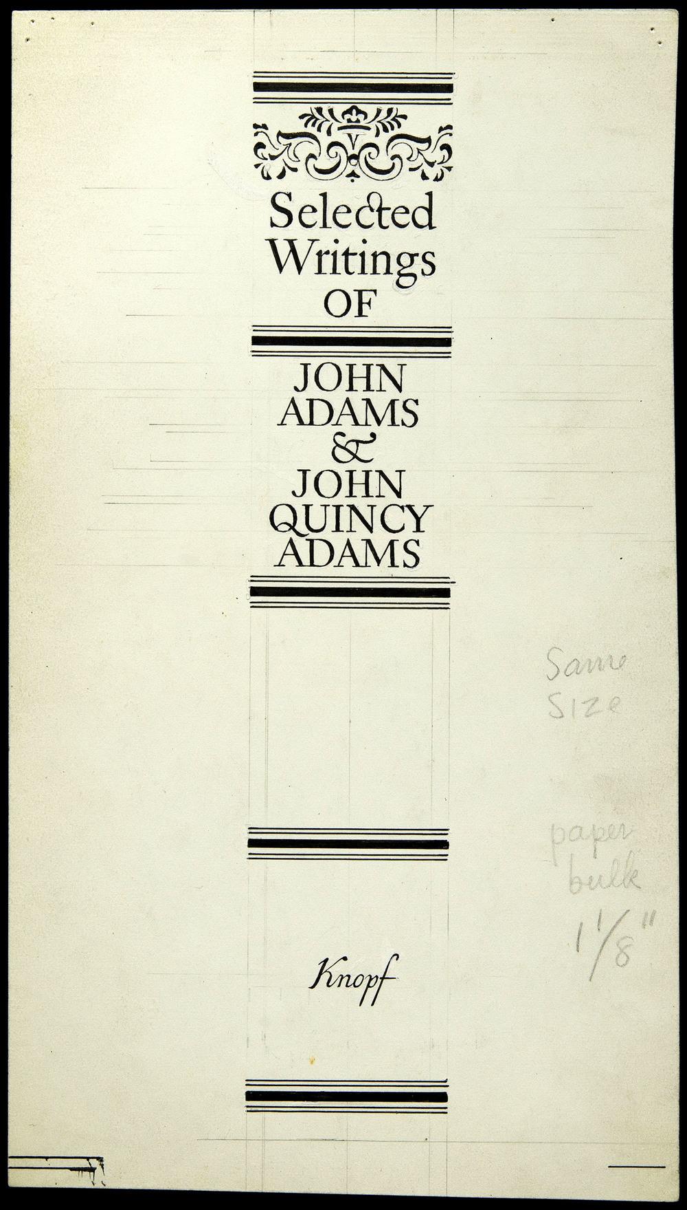 Original art for shelf back,  Selected Writings of John Adams , Knopf, New York, 1946, 13.5 x 24 cm