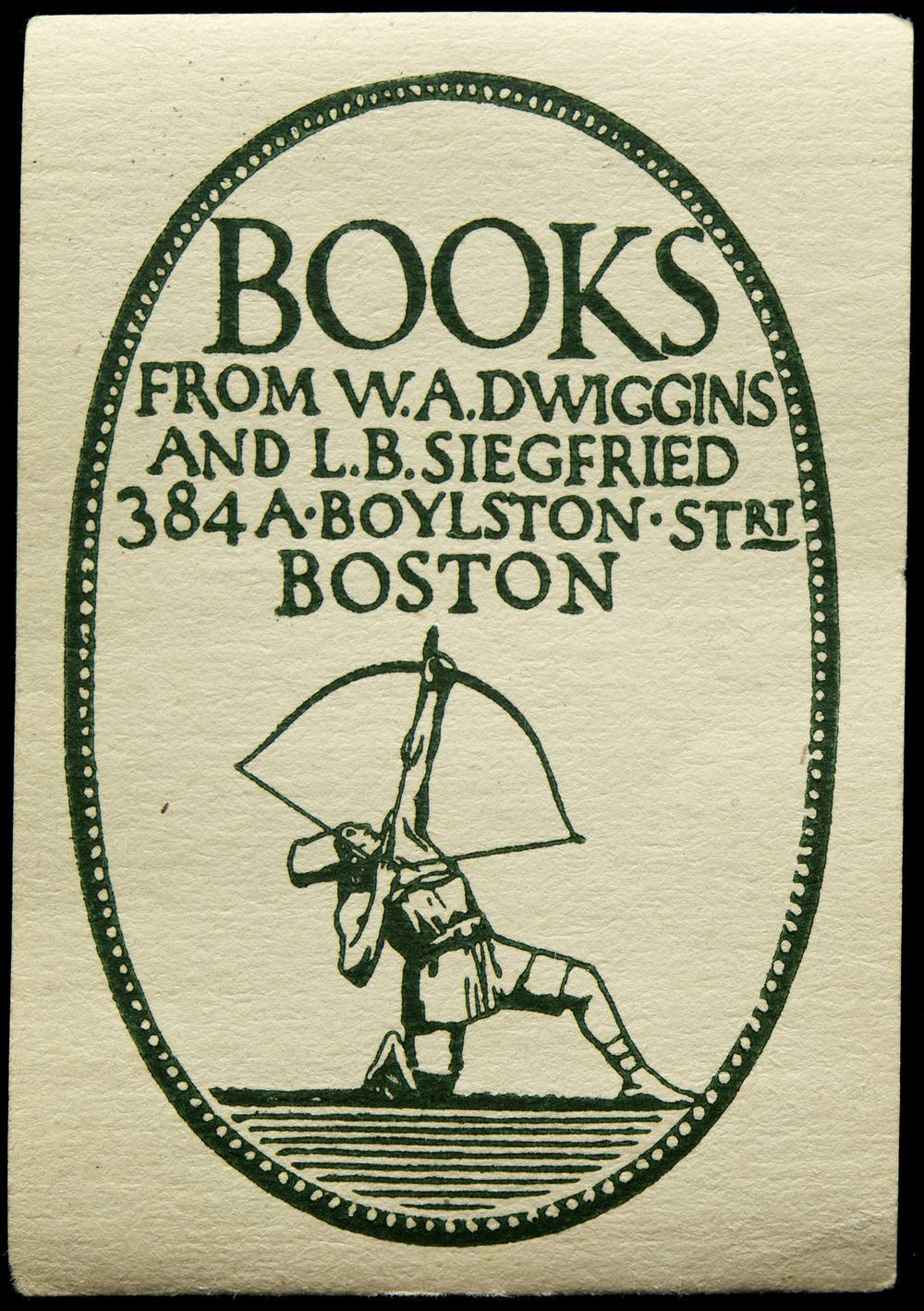 Address label, circa 1919, 4 x 5.6 cm