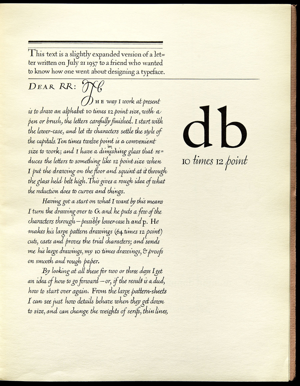 WAD to RR: A Letter About Designing Type , Harvard, Cambridge, 1940, 10.8 x 16.5 cm