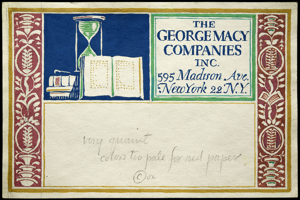 One of six hand-painted sketches, mailing label for George Macy Companies, New York, circa 1935, 15 x 10 cm