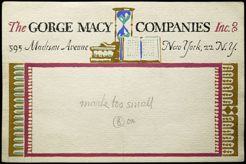 Two of six hand-painted sketches, mailing label for George Macy Companies, New York, circa 1935, 15 x 10 cm