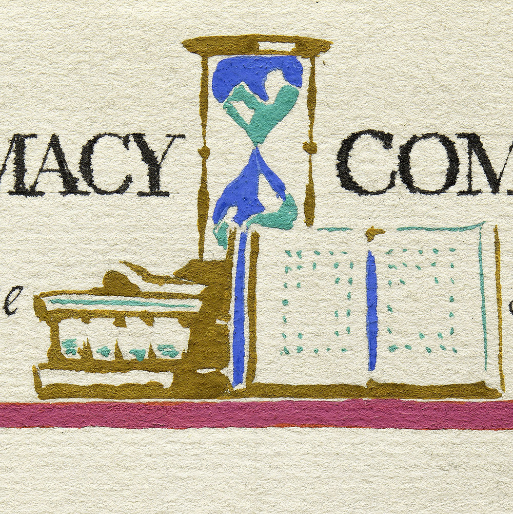 Detail of hand-painted sketch, mailing label for George Macy Companies, New York, circa 1935, 5 x 5 cm