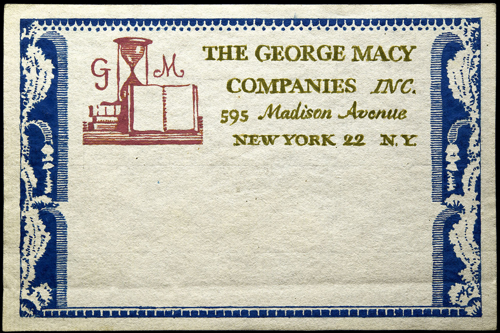 Three of six hand-painted sketches, mailing label for George Macy Companies, New York, circa 1935, 15 x 10 cm