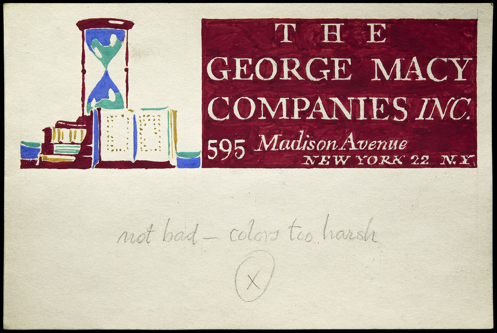 Four of six hand-painted sketches, mailing label for George Macy Companies, New York, circa 1935, 15 x 10 cm