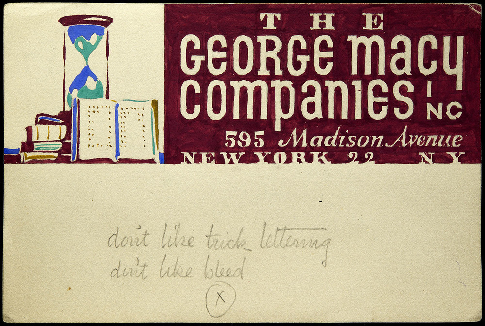 Five of six hand-painted sketches, mailing label for George Macy Companies, New York, circa 1935, 15 x 10 cm