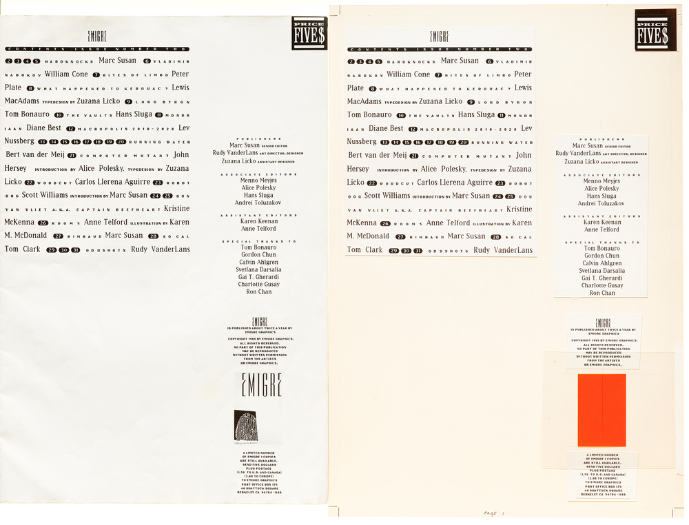 Emigre magazine #2, printed contents page and mechanical art, 1985