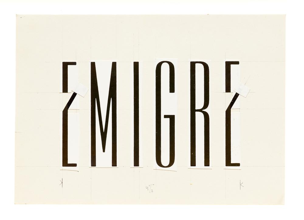 Emigre logo on paste-up board, 1983