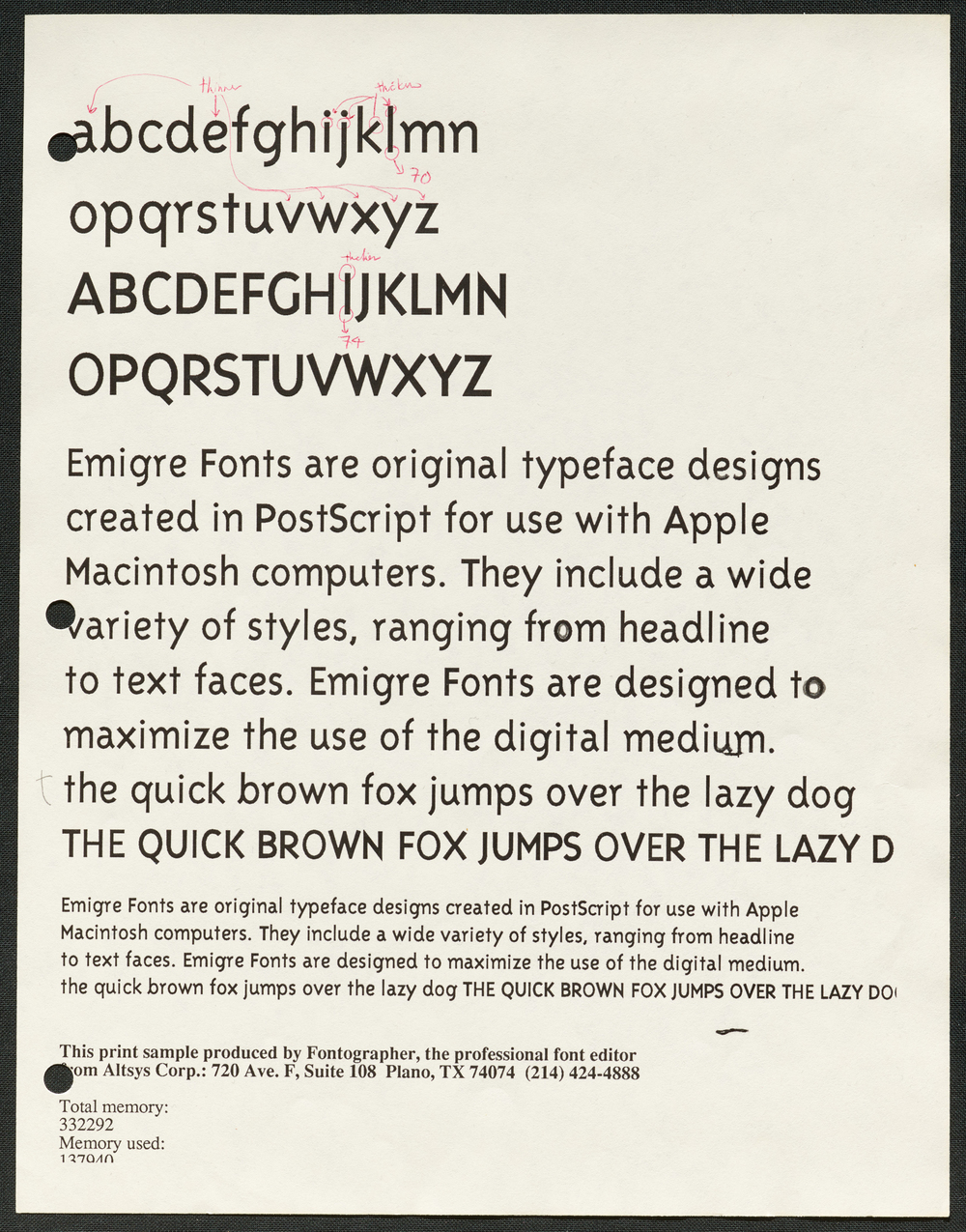Marked-up trial proofs of Triplex typeface by Zuzana Licko, 1990