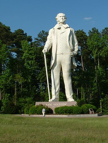 This statue of Sam Houston by David Adickes greets motorists as they approach Huntsville from the South.