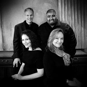 "Vocal jazz quartet Cloudburst, hailed as ""the next big thing on Houston's Jazz scene"""