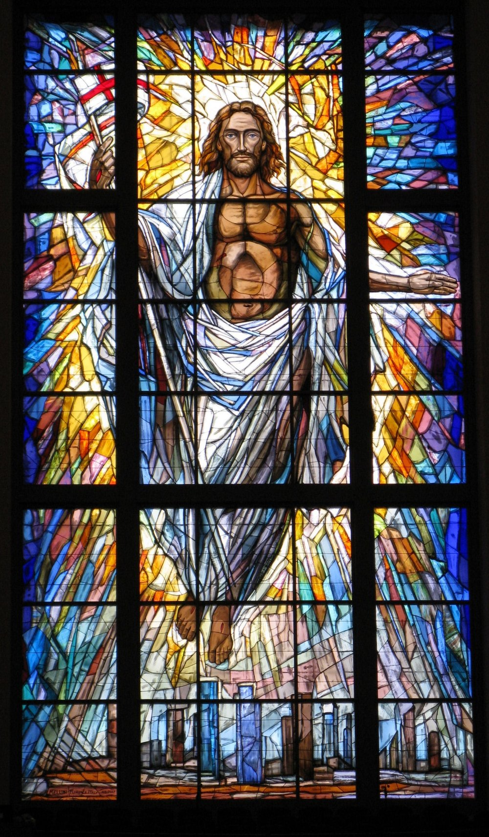 Photograph of window at the Co-Cathedral of the Sacred Heart taken by Gwen Kunz during a Primetimers day trip to the cathedral.