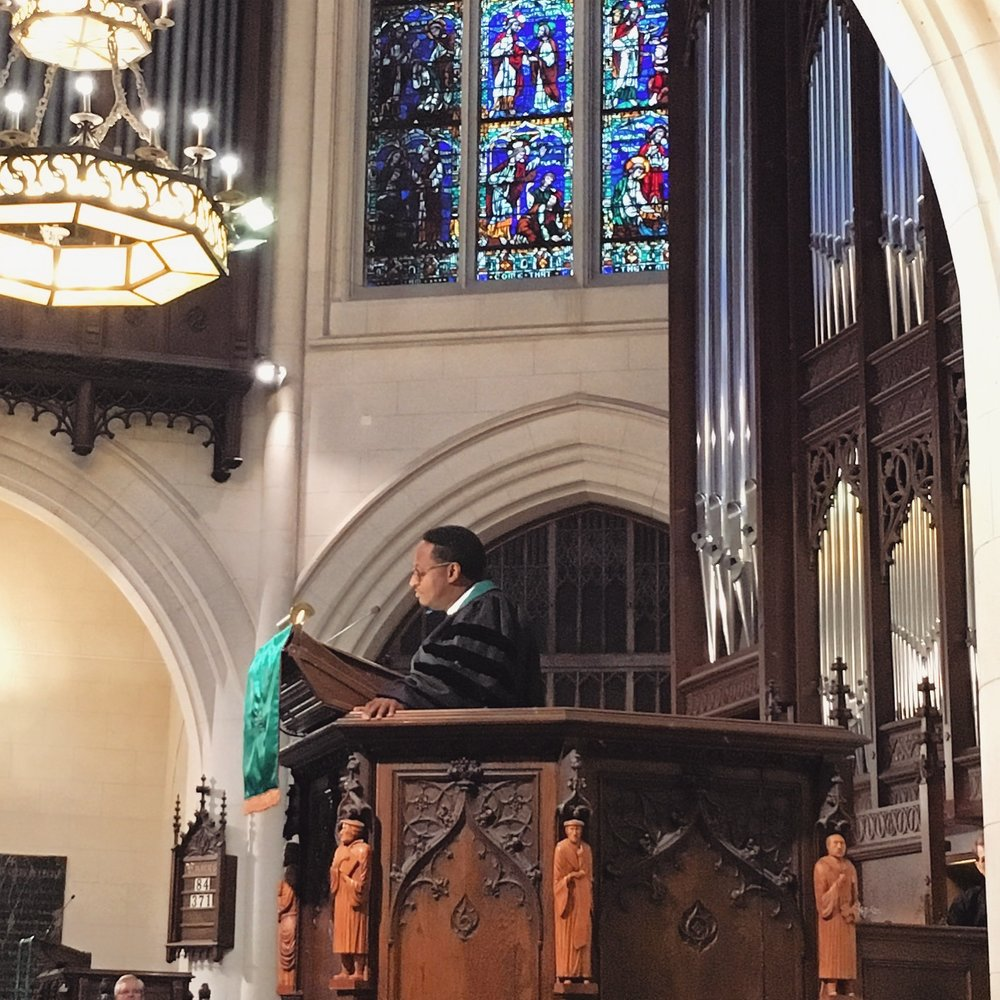 Cleve preaching at The American Church in Paris on Martin Luther King, Jr.'s birthday.
